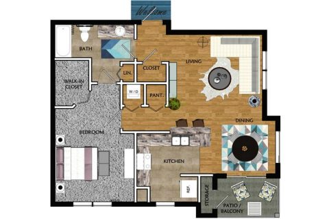 1 Bed / 1 Bath / 803 sq ft