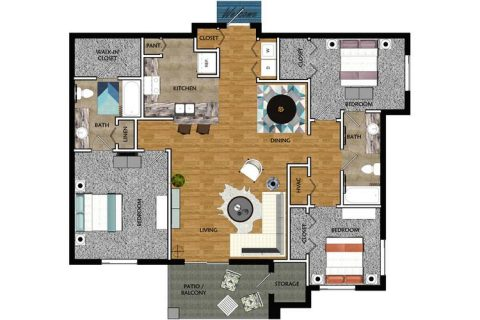 3 Bed / 2 Bath / 1,277 sq ft