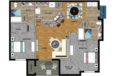 2 Bed / 2 Bath / 1,103 sq ft
